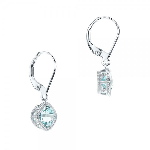 Aquamarine Drop Earrings - Laying View
