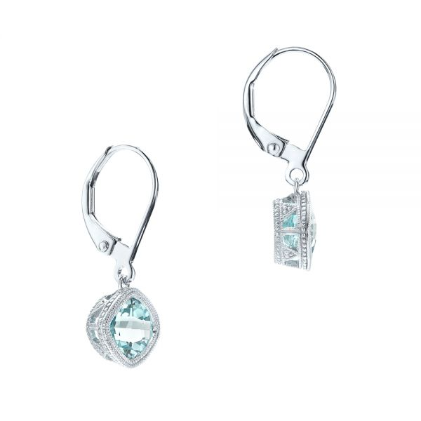 Aquamarine Drop Earrings - Front View -  103300