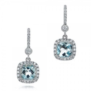Aquamarine Drop Halo Earrings