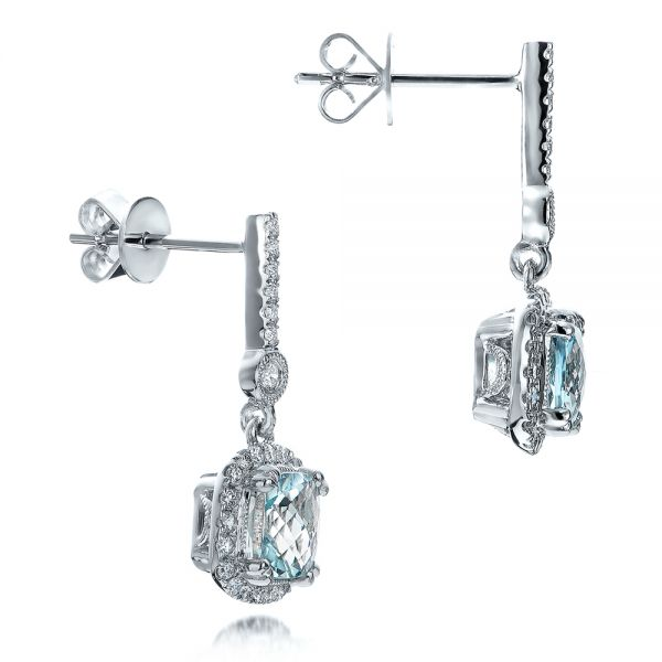Aquamarine Drop Halo Earrings - Front View -