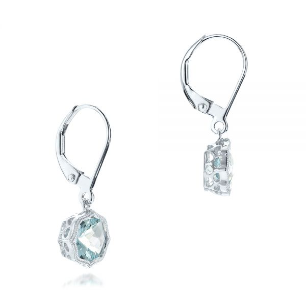 Aquamarine Leverback Earrings - Front View -  102513