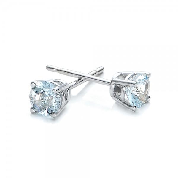 Aquamarine Stud Earrings - Laying View