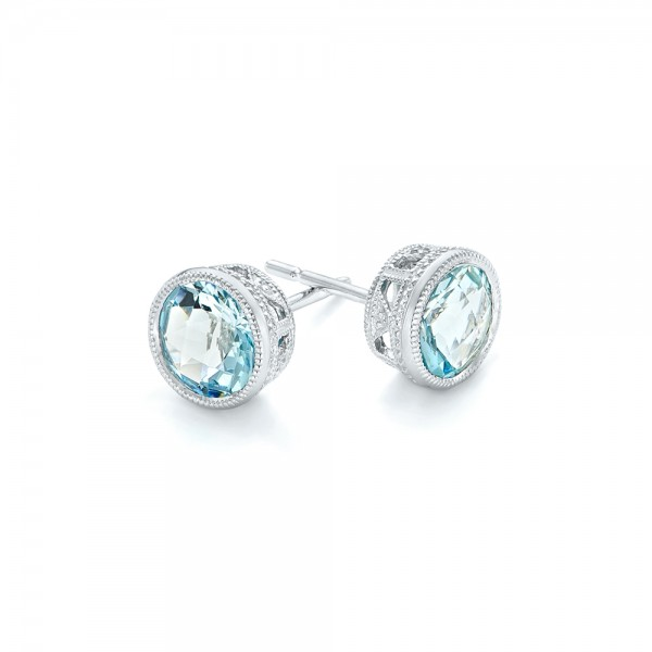 Aquamarine Stud Earrings - Flat View -  102665 - Thumbnail