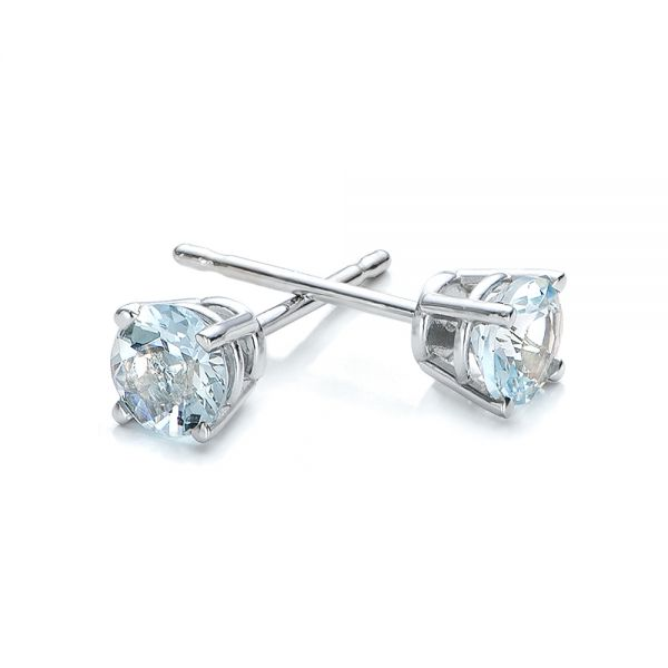 14k White Gold Aquamarine Stud Earrings - Front View -  100944