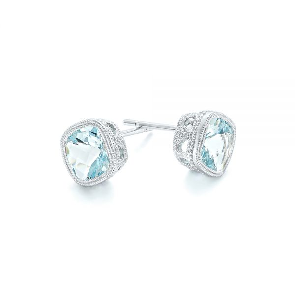 Aquamarine Stud Earrings - Front View -  102632 - Thumbnail