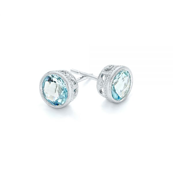 Aquamarine Stud Earrings - Front View -  102665 - Thumbnail