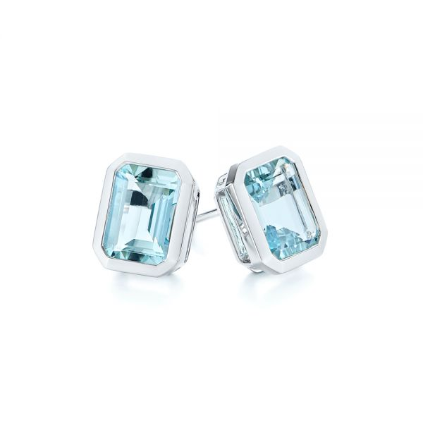 14k White Gold Aquamarine Stud Earrings - Front View -  105414