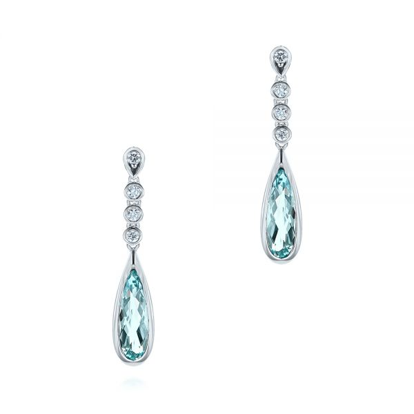 Aquamarine and Diamond Drop Earrings - Image