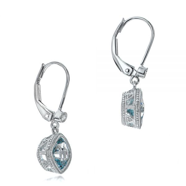 Aquamarine And Diamond Earrings - Front View -