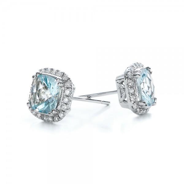 Aquamarine and Diamond Halo Earrings - Laying View