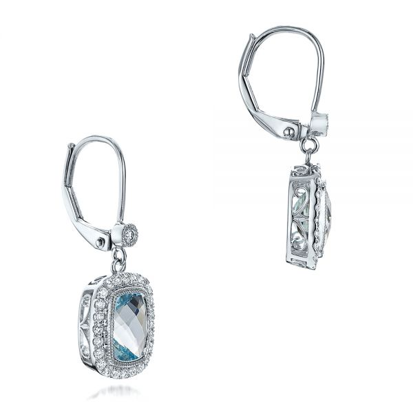 Aquamarine And Diamond Halo Earrings - Front View -