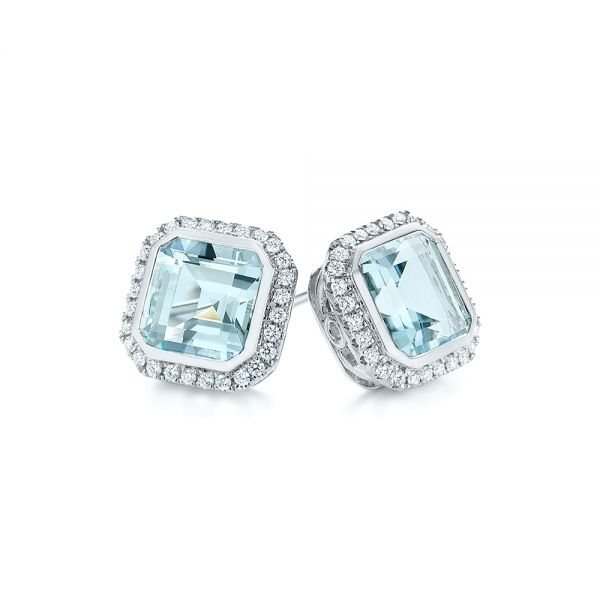 14k White Gold Aquamarine And Diamond Halo Earrings - Front View -