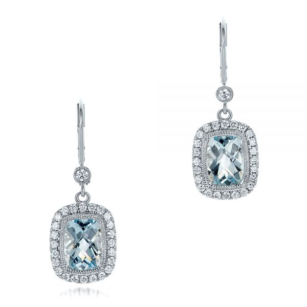 Aquamarine And Diamond Halo Earrings - Three-Quarter View -