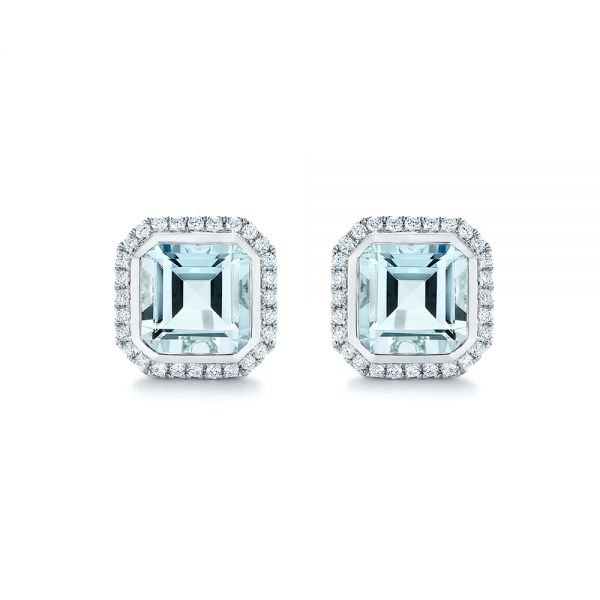 14k White Gold Aquamarine And Diamond Halo Earrings - Three-Quarter View -