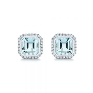 Aquamarine and Diamond Halo Earrings - Image
