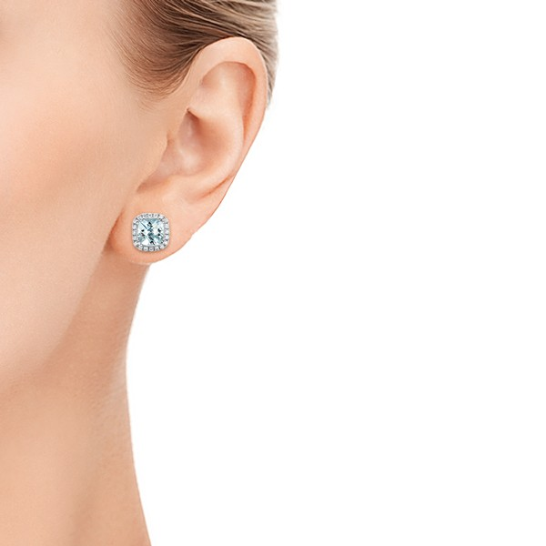 Aquamarine and Diamond Halo Earrings - Model View