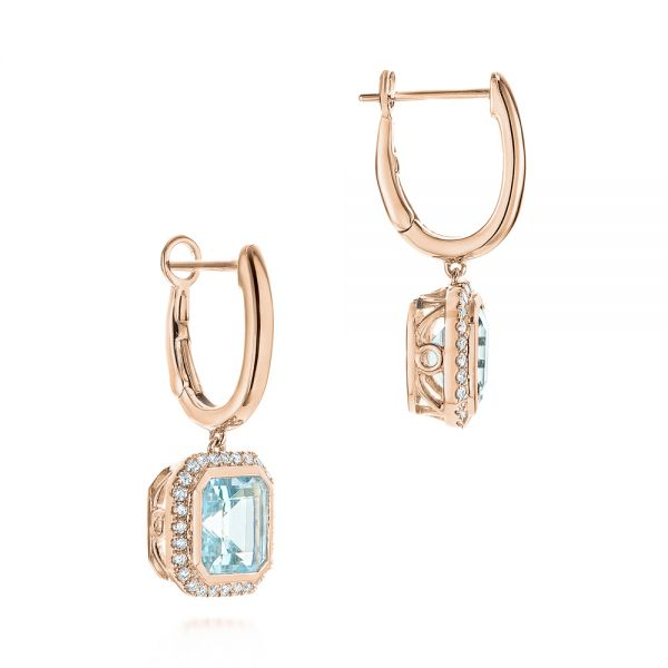 14k Rose Gold 14k Rose Gold Aquamarine And Diamond Huggies - Front View -  105413