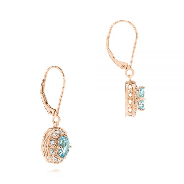 14k Rose Gold 14k Rose Gold Aquamarine And Diamond Vintage-inspired Earrings - Front View -