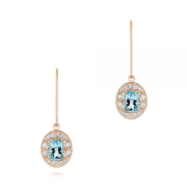 14k Rose Gold 14k Rose Gold Aquamarine And Diamond Vintage-inspired Earrings - Three-Quarter View -