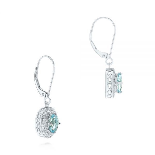 14k White Gold Aquamarine And Diamond Vintage-inspired Earrings - Front View -