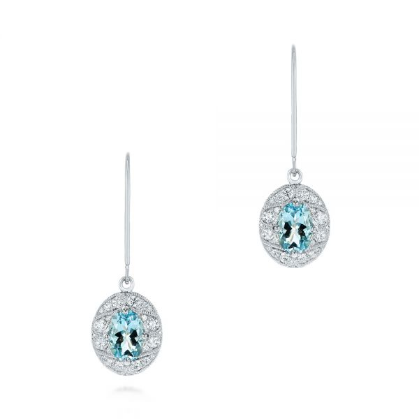 Aquamarine and Diamond Vintage-inspired Earrings
