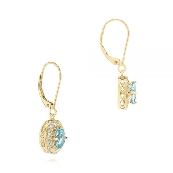 14k Yellow Gold 14k Yellow Gold Aquamarine And Diamond Vintage-inspired Earrings - Front View -  103897