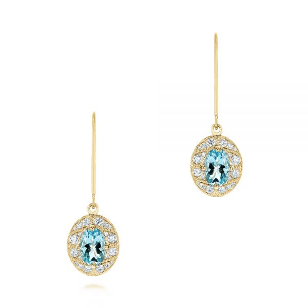 14k Yellow Gold 14k Yellow Gold Aquamarine And Diamond Vintage-inspired Earrings - Three-Quarter View -  103897