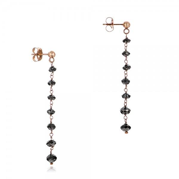 Black Diamond Dangle Earrings - Laying View