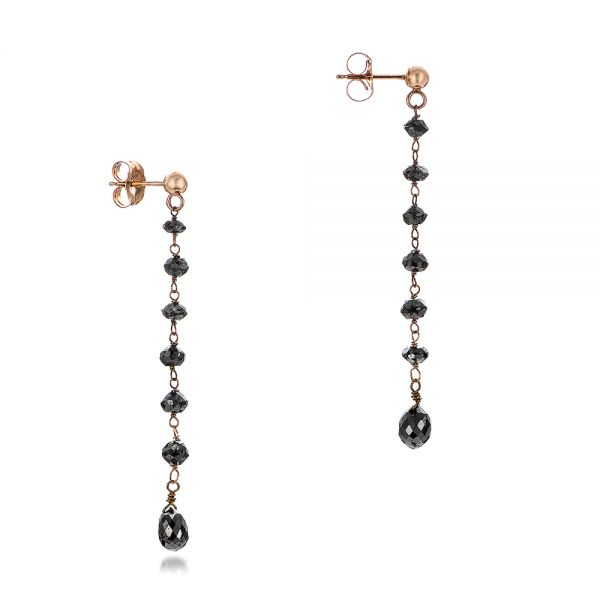 Black Diamond Dangle Earrings - Front View -