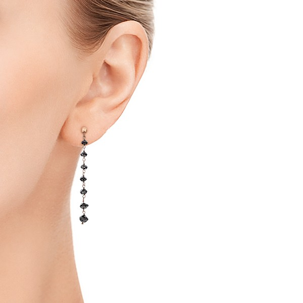 Black Diamond Dangle Earrings - Model View