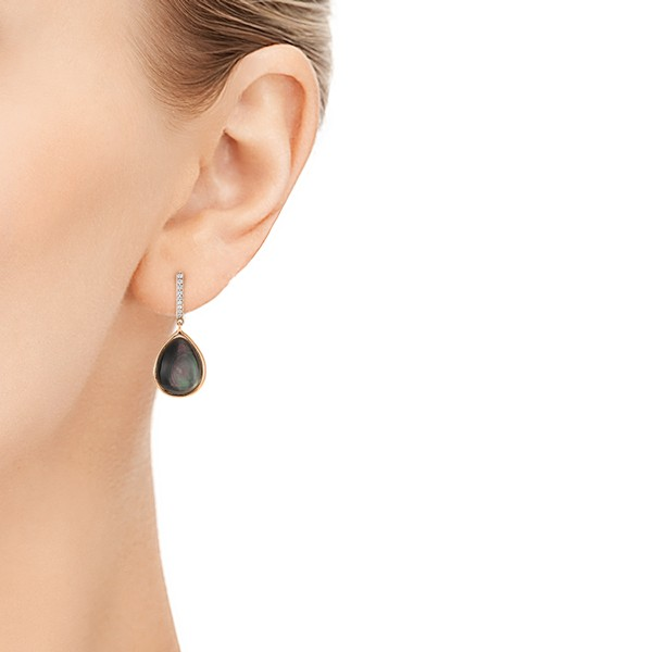Black Mother of Pearl and Diamond Luna Earrings - Model View