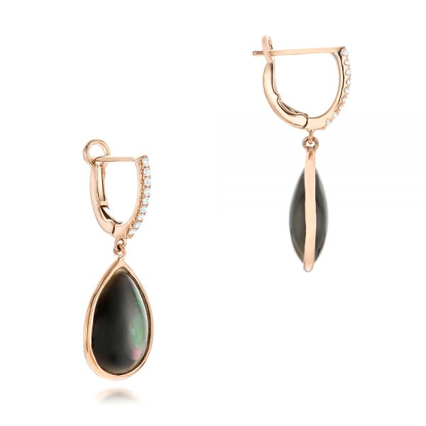 Black Mother Of Pearl And Diamond Luna Earrings - Front View -