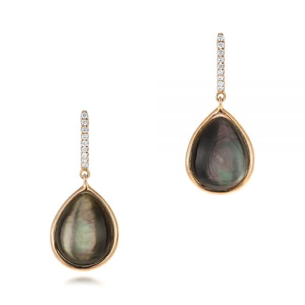 Black Mother Of Pearl And Diamond Luna Earrings - Three-Quarter View -