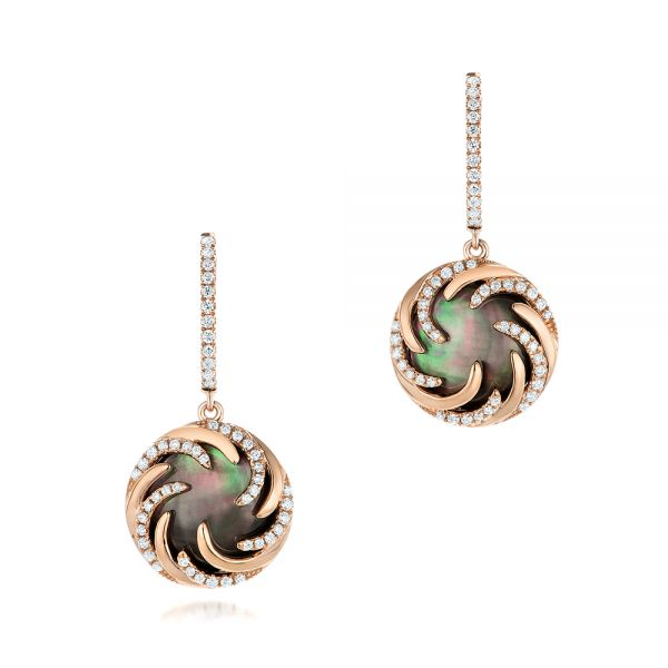 Black Mother of Pearl and Diamond Luna Fire Earrings - Image