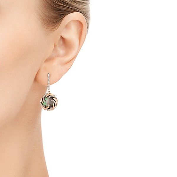 Black Mother of Pearl and Diamond Luna Fire Earrings - Model View