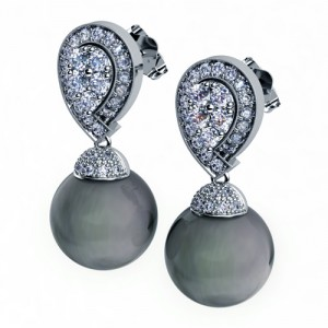 Black Pearl and Pave Diamond Earrings