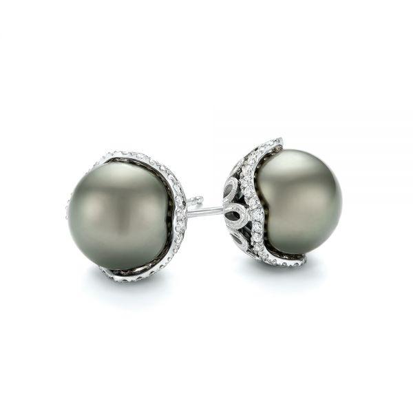 Black Tahitian Pearl and Diamond Earring Studs - Laying View