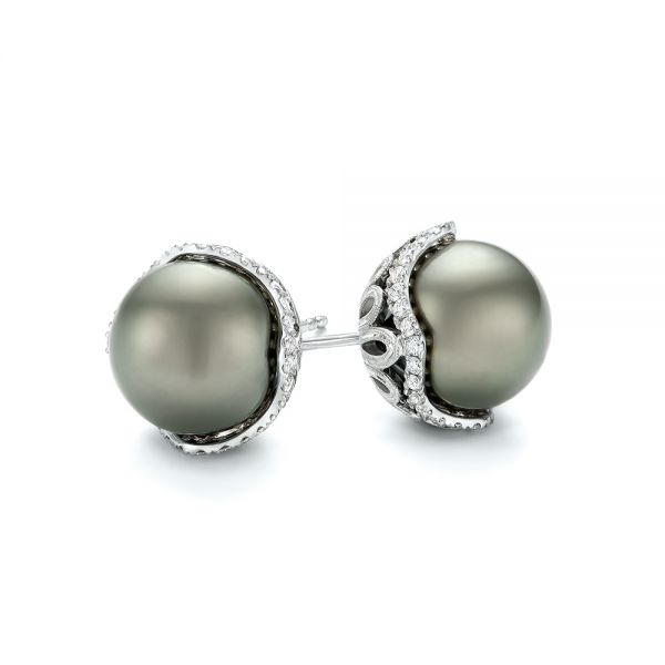 18k White Gold Black Tahitian Pearl And Diamond Earring Studs - Front View -