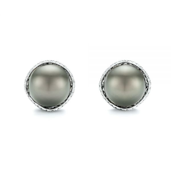 Black Tahitian Pearl and Diamond Earring Studs - Image