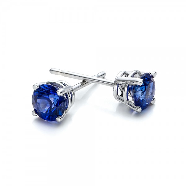 Blue Sapphire Stud Earrings - Laying View