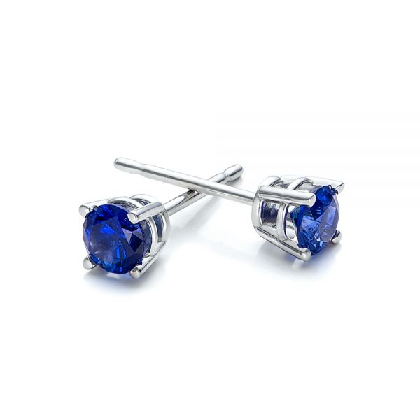 Blue Sapphire Stud Earrings - Front View -