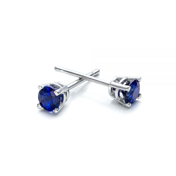 Blue Sapphire Stud Earrings - Front View -  100957
