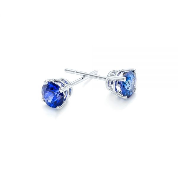 Blue Sapphire Stud Earrings - Front View -  102629