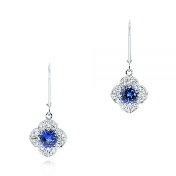Blue Sapphire and Diamond Drop Earrings - Three-Quarter View -  103423 - Thumbnail