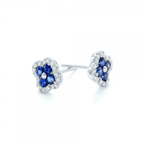 Blue Sapphire and Diamond Earrings - Flat View -  102668 - Thumbnail