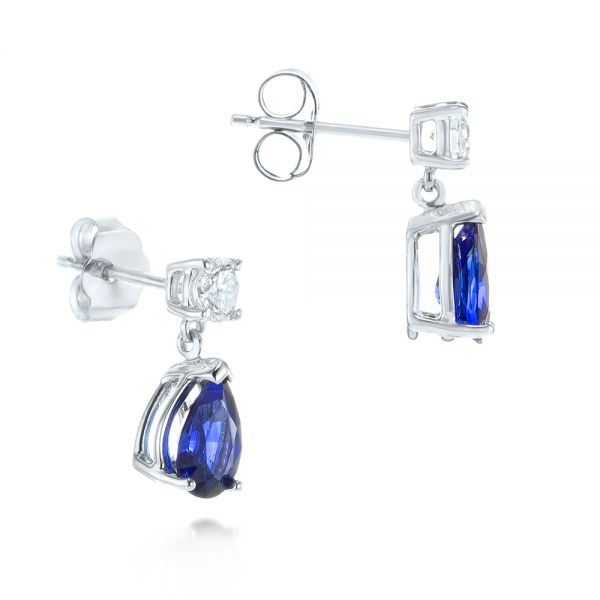 14k White Gold Blue Sapphire And Diamond Earrings - Front View -