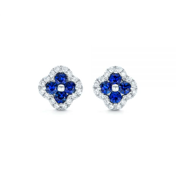 Blue Sapphire and Diamond Earrings - Image