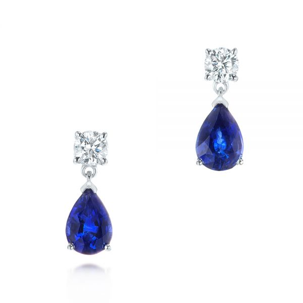 14k White Gold Blue Sapphire And Diamond Earrings - Three-Quarter View -