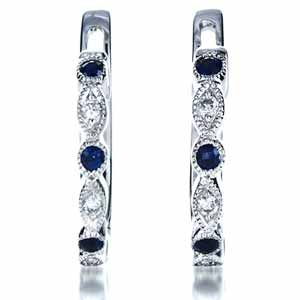 Blue Sapphire and Diamond Earrings