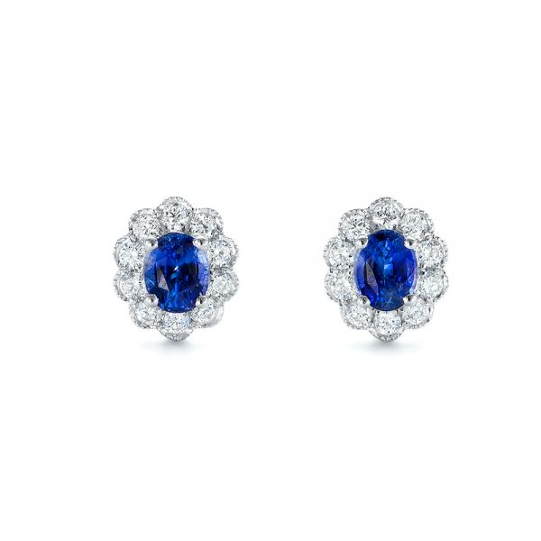 Blue Sapphire and Diamond Floral Stud Earrings - Image